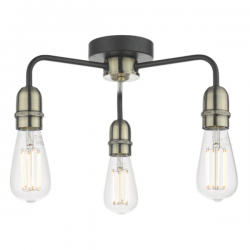 Dar Lighting KIE5322 Kiefer 3lt Flush Black & Antique Brass