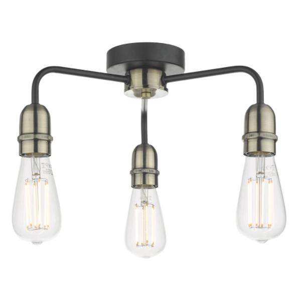Dar Lighting KIE5322 Kiefer 3lt Flush Black & Antique Brass