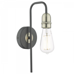 Dar Lighting KIE0722 Kiefer 1lt Wall Light Black & Antique Brass