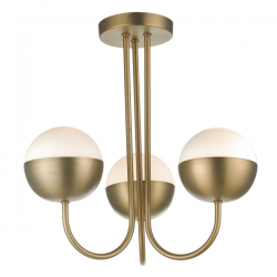 Dar Lighting AND0342 Andre 3lt Semi Flush Aged Brass