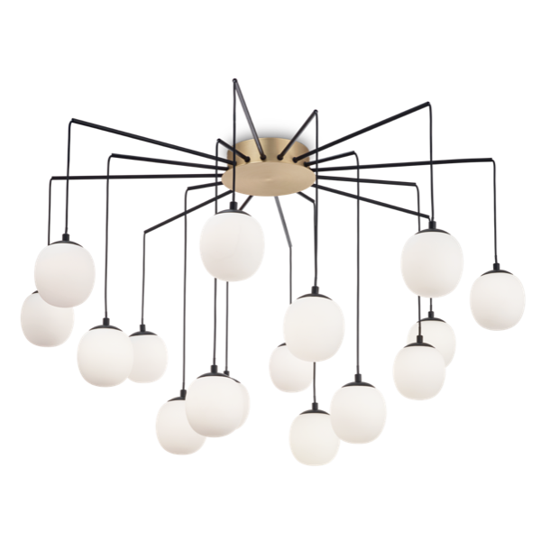 Ideal Lux 236964 Rhapsody SP16 16 Light Pendant in Brass and Matt Black
