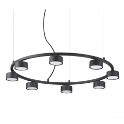Ideal Lux 235547 Minor Round SP8 Pendant Light in Black