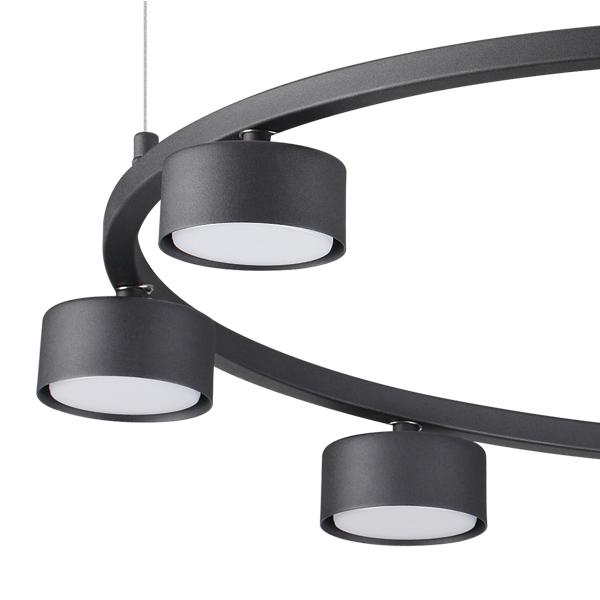 Ideal Lux 235547 Minor Round SP8 Pendant Light in Black