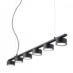 Ideal Lux 235486 Minor Linear SP6 6 Light Pendant in Black