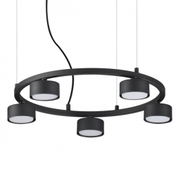 Ideal Lux 235516 Minor Round SP5 5 Light Pendant in Black