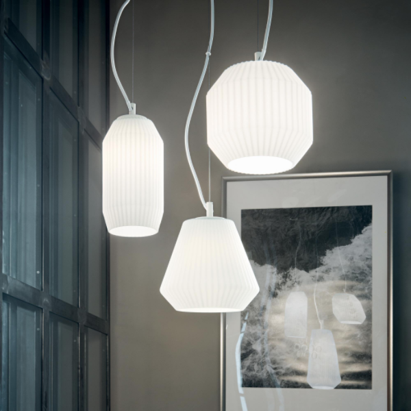 Ideal Lux 198095 Origami SP3 3 Light Pendant in White