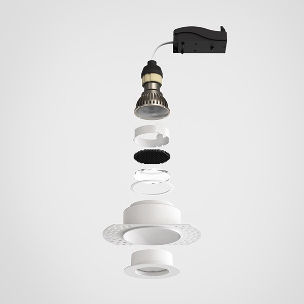 Astro Trimless Slimline Round Fixed Fire-Rated IP65 Bathroom Downlight in Matt White