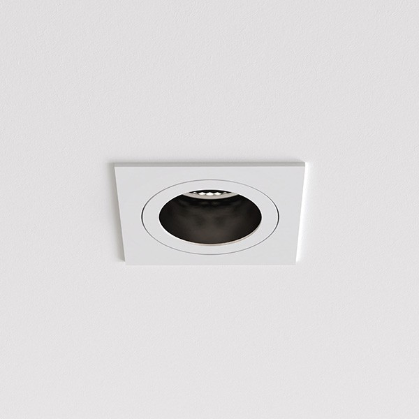 Astro Pinhole Slimline Square Fixed Fire-Rated IP65 Bathroom Downlight in Matt White