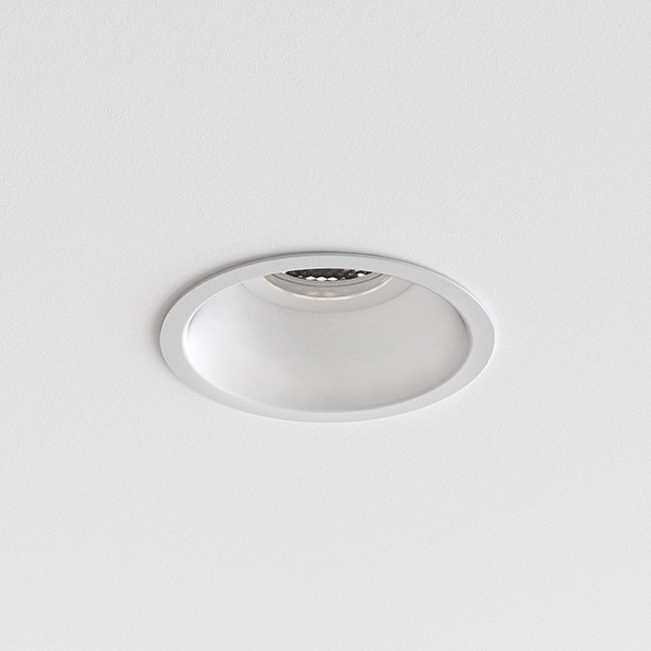 Astro Minima Slimline Round Fixed Fire-Rated IP65 Bathroom Downlight in Matt White