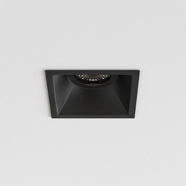 Astro Minima Slimline Square Fixed Fire-Rated IP65 Bathroom Downlight in Matt Black