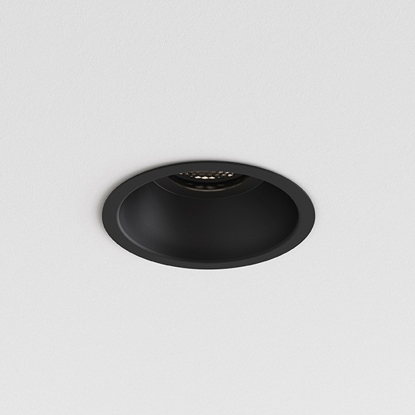 Astro Minima Slimline Round Fixed Fire-Rated IP65 Bathroom Downlight in Matt Black