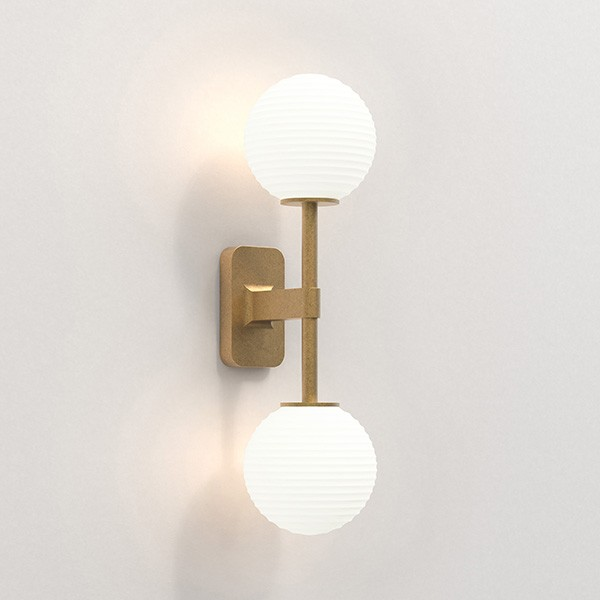 Astro Tacoma Twin Bathroom Wall Light in Antique Brass