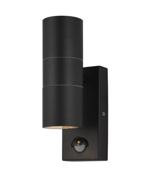 Forum ZN-29179-BLK Leto Up & Down Exterior Wall Light with PIR in Black