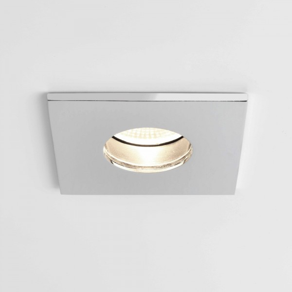 Astro Obscura Square Bathroom Downlight in Polished Chrome