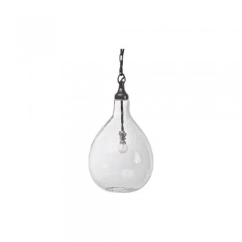 The Libra Company 036209 Clear Blown Bubble Pendant Dark Bronze Metal Work