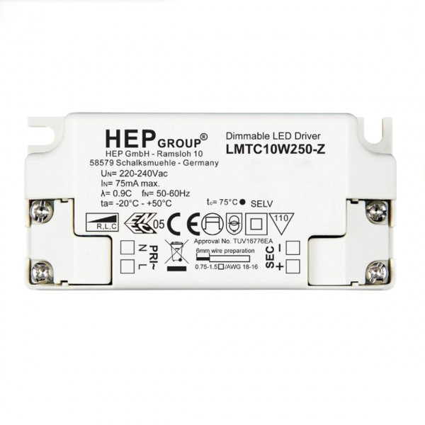 Astro LED Driver CC 250mA 10W Phase Dim LED Driver in White