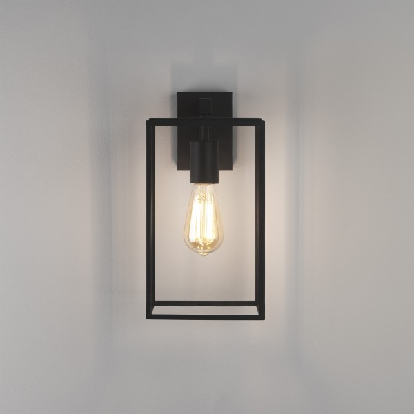 Astro Box Lantern 350 Outdoor Wall Light in Textured Black