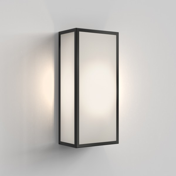 Astro Messina 160 Frosted II Outdoor Wall Light in Textured Black