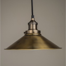 Culinary Concepts HBR-MLGE-BRS Large Hanging Triangular Metal Shade With Fitment in Antique Brass