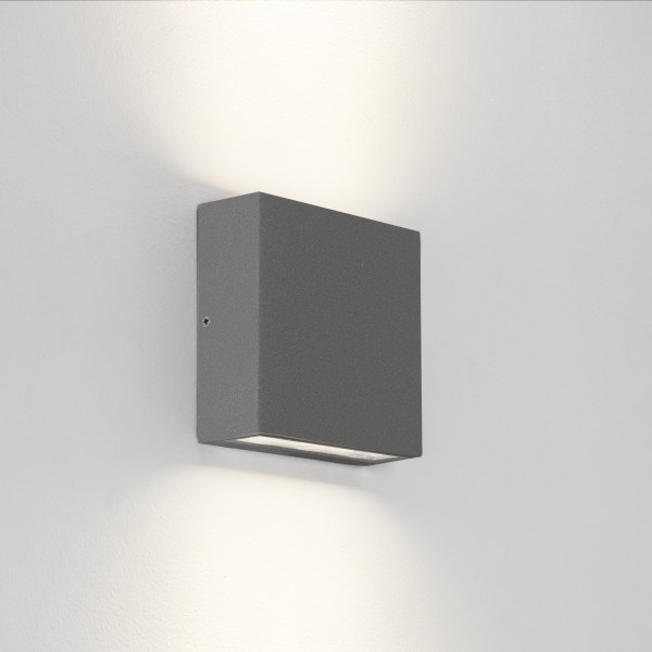 Astro Elis Twin LED Outdoor Wall Light in Textured Grey