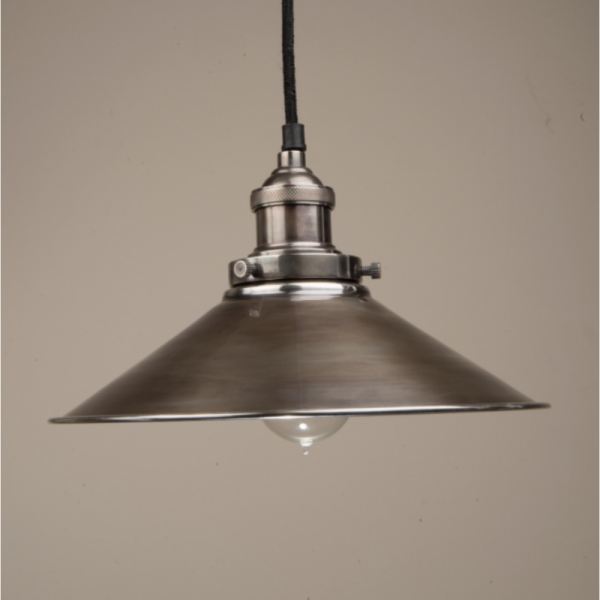 Culinary Concepts HSL-MLGE-SLV Large Hanging Triangular Metal Shade With Fitment in Antique Silver