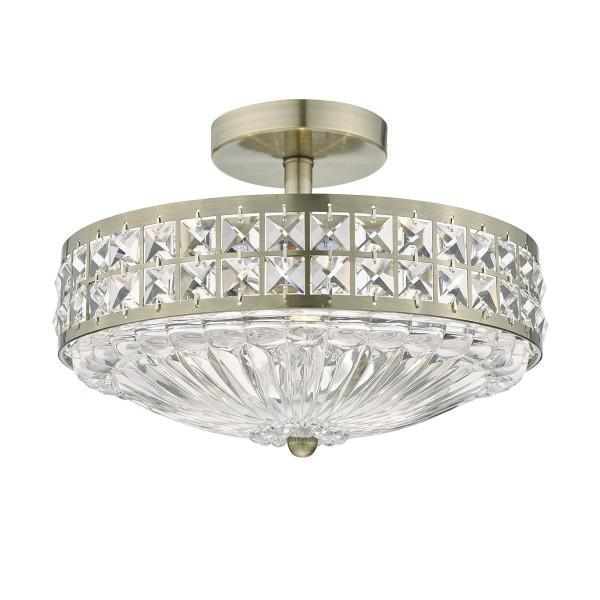 Dar Lighting OLO5375 3L Light Semi Flush Antique Brass Crystal Beads and Glass Diffuser