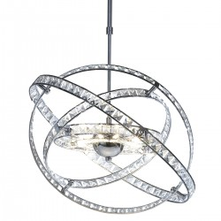 Dar Lighting ETE2350 Eternity 10 Light Pendant Faceted Crystal and Polished Chrome