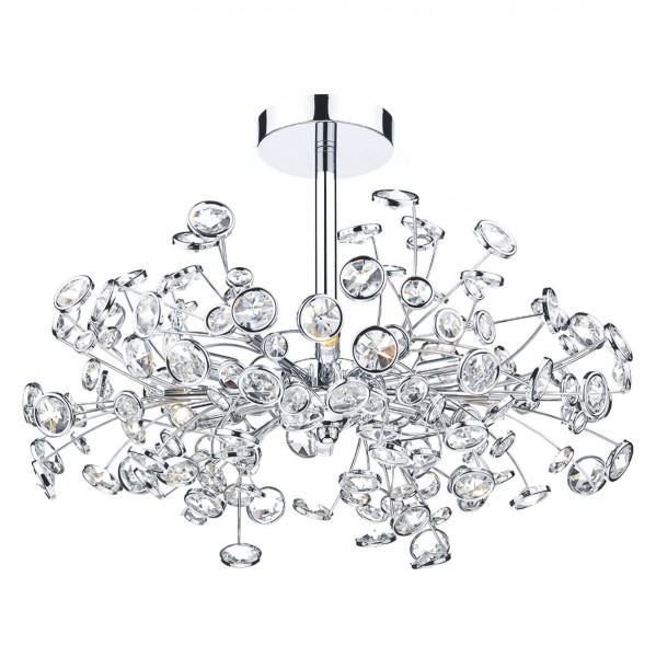 Dar Lighting OBE0650 Oberoi 6 Light Semi Flush Polished Chrome