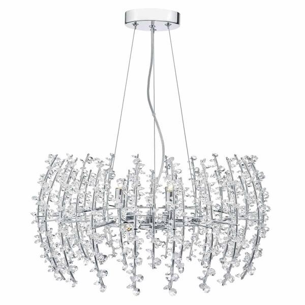 Dar Lighting SES0650 Sestina 6 Light Pendant Crystal Beads Chrome Frame