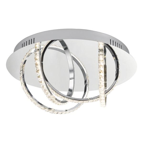 Dar Lighting ZAN5250 Zancara 4Lt Flush Polished Chrome and Crystal LED