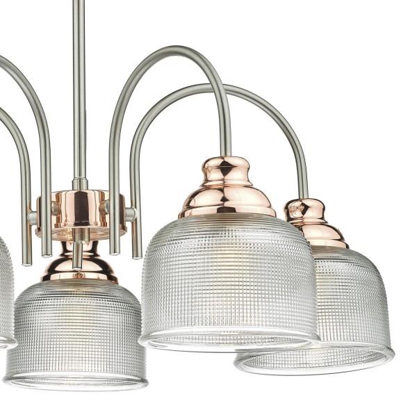 Dar Lighting WHA0546 Wharfdale 5lt Pendant Satin Chrome Copper detail Glass Shades