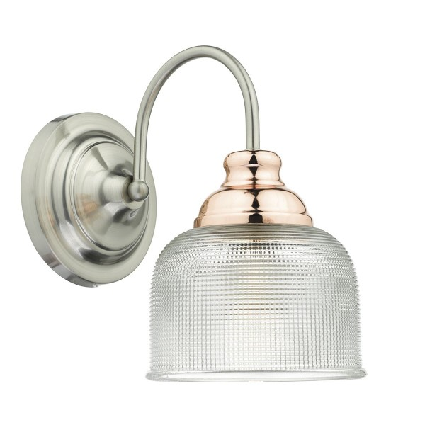 Dar Lighting WHA0746 Wharfdale Wall Light Satin Chrome Copper detail Glass shades