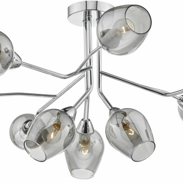 Dar Lighting ELO1310 Eloise 9lt Semi Flush Polished Chrome & Glass