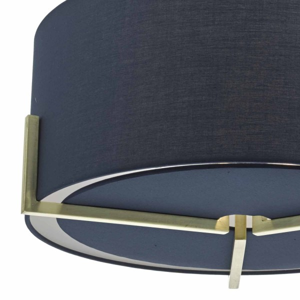 Dar Lighting SAN0323 Santino Pendant Gold C/W Navy Cotton Shade