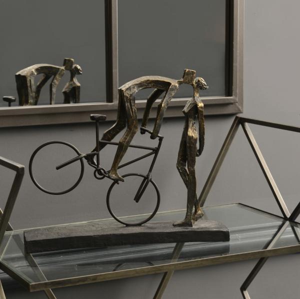 The Libra Company 701364 Antique Bronze Kissing Couple On Bike Sculpture