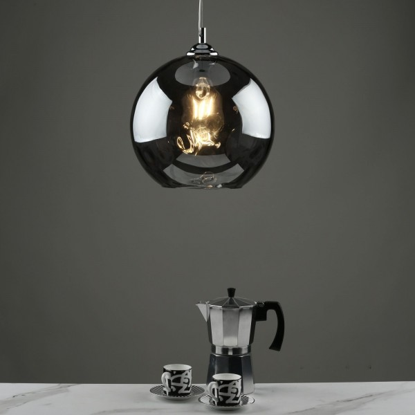 Dar Lighting AUL0110 Aulax 1 Light Pendant Silver Smoked Glass With Dimple Effect Finish