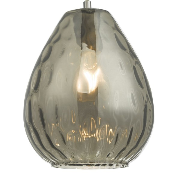Dar Lighting APU0110  Apulia 1lt Pendant Smoked Glass