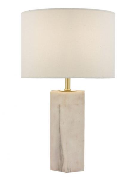 Dar Lighting NAL4203 Nalani Table Lamp Pink & Marble Effect With Shade