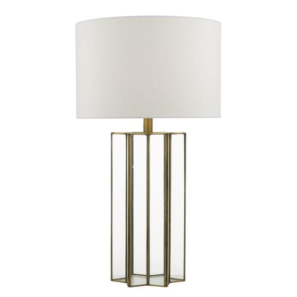 Dar Lighting OSU4242 Osuna Table Lamp Natural Metal Glass complete with Shade