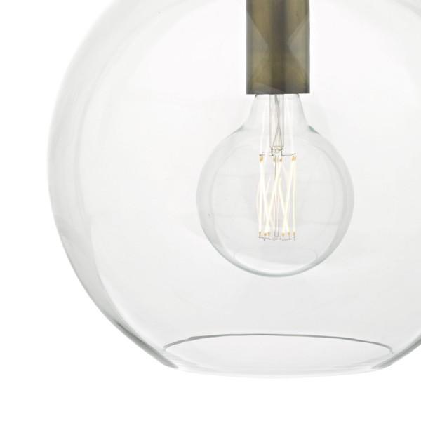 Dar Lighting ZUL0163 Zula 1lt Pendant Glass & Aged Bronze