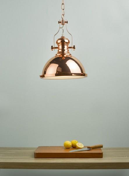 Dar Lighting ARO0164 Arona 1lt Pendant Copper & Glass