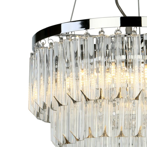 Dar Lighting FAM0538 Fame 5 Light Pendant Polished Chrome Glass