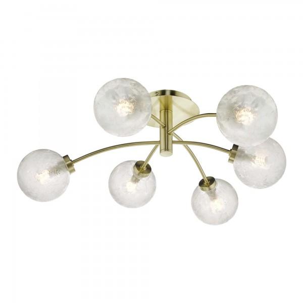Dar Lighting AVA6441 Avari 6 Light Semi Flush Satin Brass And Clear Frosted Glass