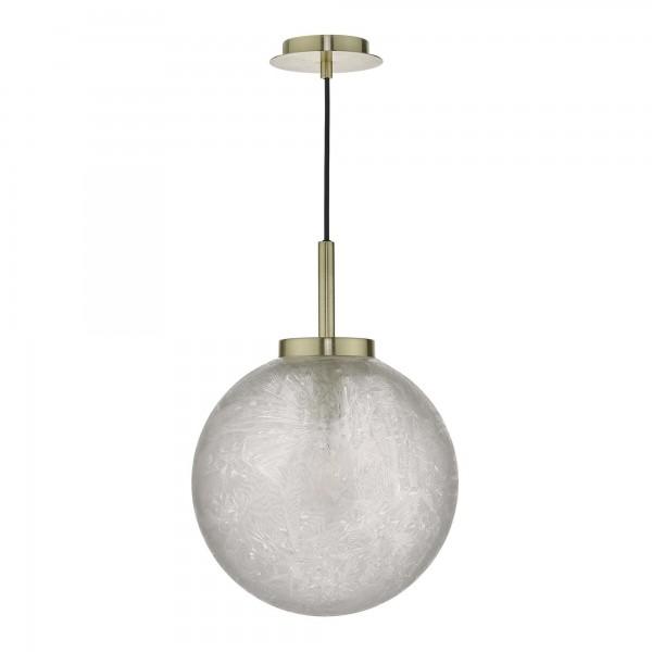 Dar Lighting AVA0141 Avari 1 Light Pendant Satin Brass And Clear Frosted Glass