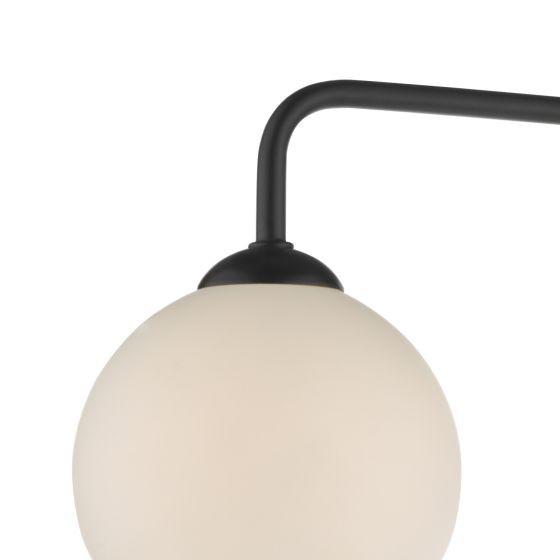 Dar Lighting FEY0322-02 Feya 3 Light Semi Flush Ceiling Light Matt Black Opal Glass