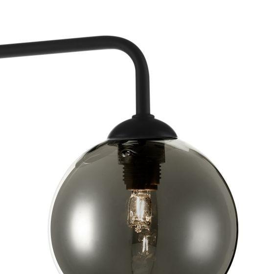 Dar Lighting FEY0322-01 Feya 3 Light Semi Flush Ceiling Light Matt Black Smoked Glass