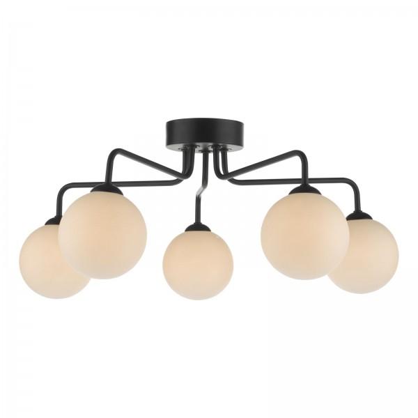 Dar Lighting FEY0522-02 Feya 5 Light Semi Flush Ceiling Light Matt Black Opal Glass