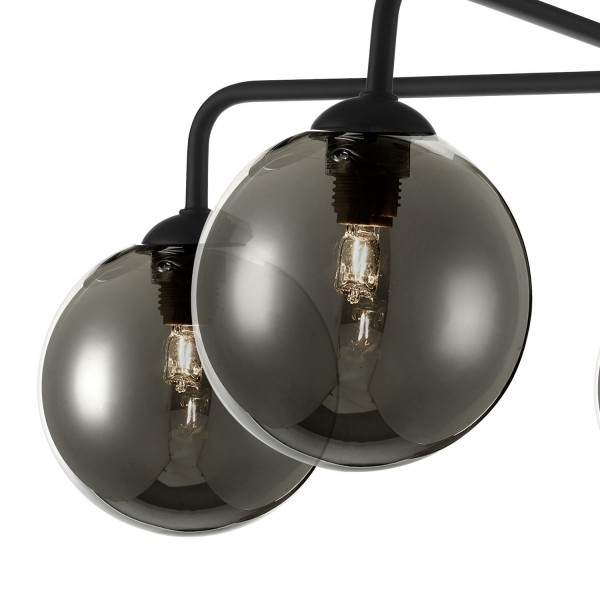 Dar Lighting FEY0522-01 Feya 5 Light Semi Flush Ceiling Light Matt Black Smoked Glass