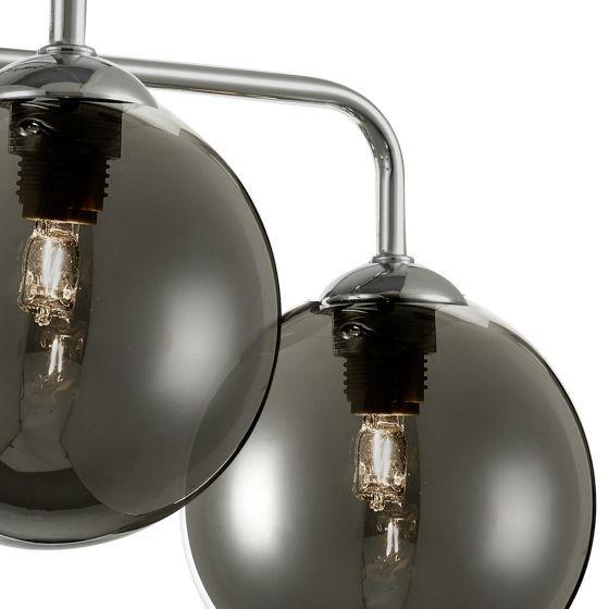 Dar Lighting FEY0550-01 Feya 5 Light Semi Flush Ceiling Light Polished Chrome Smoked Glass