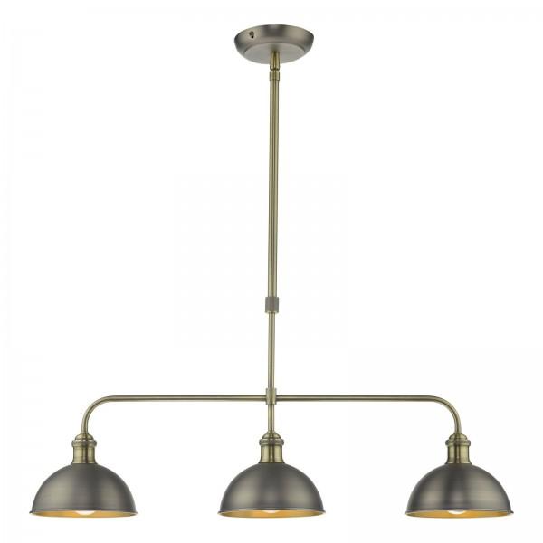 Dar Lighting GOV0361 Governor 3 Light Bar Antique Chrome Antique Brass